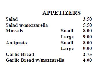 italian villa appetizers north arlington pizza