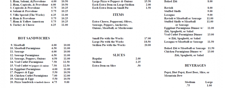 italian villa menu north arlington pizza
