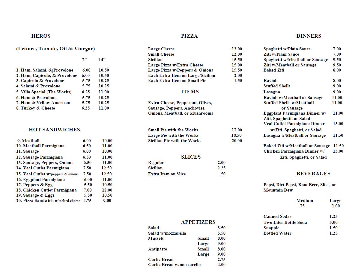 italian villa menu north arlington pizza